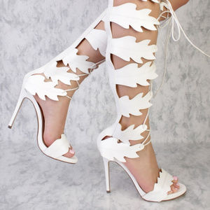 9782a4d2 Shoes - White Swirl Cut Out Detailing Peep Toe Gladiator S